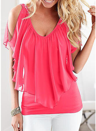 Solid V-Neck Batwing Sleeve Casual T-shirt