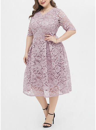 Lace/Solid 1/2 Sleeves A-line Plus Size Midi Dresses