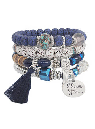 Mooi Legering Verzilverd Acryl Houten Kralen Dames Fashion Armbanden
