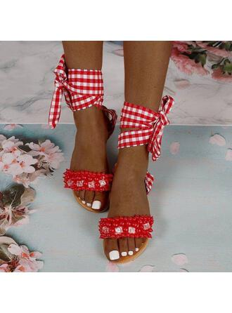 Women's Microfiber Flat Heel Sandals Flats Peep Toe With Imitation Pearl Hollow-out Bandage shoes
