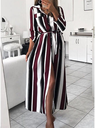 Striped Long Sleeves A-line Maxi Elegant/Vacation Dresses