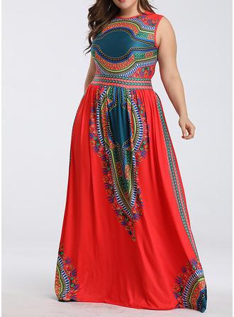 Print Sleeveless A-line Maxi Casual/Boho Dresses