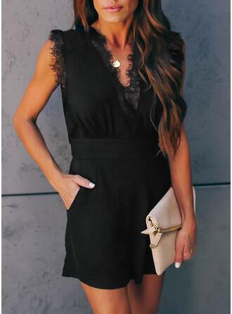 Spitze Einfarbig V-Ausschnitt Ärmellos Lässige Kleidung Elegant Strampler