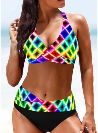Plaid Splice color Halter Sexy Boho Bikinis Swimsuits
