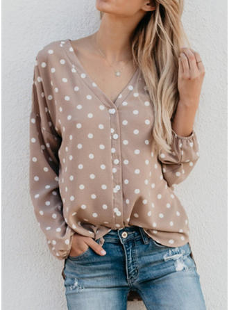 Cotton Blends V Neck Print Long Sleeves Button Up Blouses