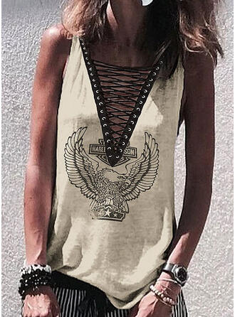 Print V-Neck Sleeveless Casual Sexy Tank Tops