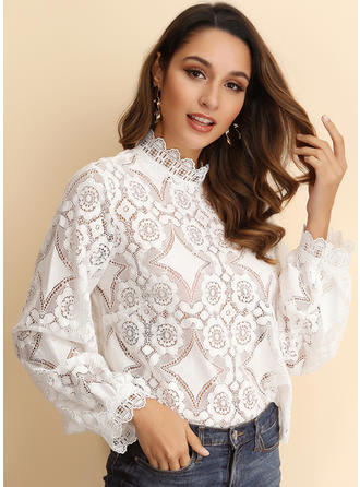 Lace Stand-up Collar Long Sleeves Casual Blouses