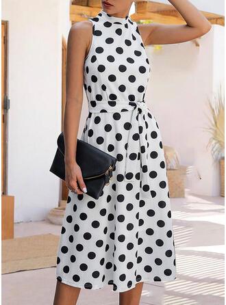 PolkaDot Sleeveless A-line Casual/Elegant Midi Dresses