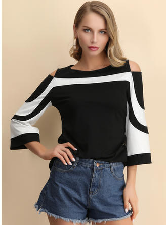 Color Block Boat Neck 3/4 Sleeves Casual Elegant Blouses