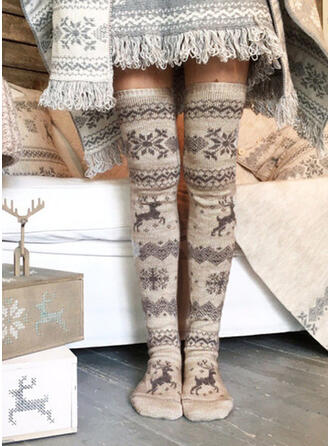 Print/Christmas Reindeer Breathable/Comfortable/Women's/Christmas/Knee-High Socks Socks/Stockings