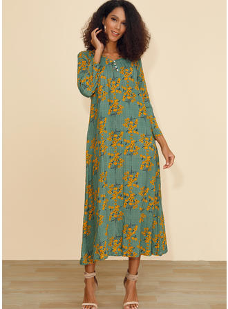 Print/Floral 3/4 Sleeves Shift Midi Casual Dresses