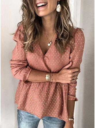PolkaDot V-Neck Puff Sleeves Long Sleeves Button Up Casual Elegant Shirt Blouses