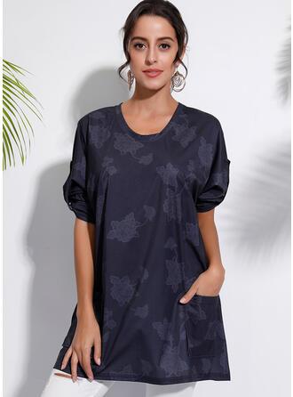 Imprimée Fleurie Col V Manches Longues Décontractée Tricotage T-shirts