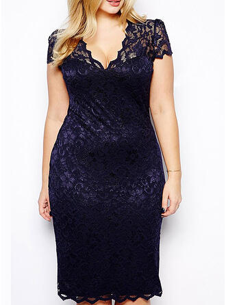 Lace/Solid Short Sleeves Bodycon Knee Length Little Black/Party/Elegant/Plus Size Dresses