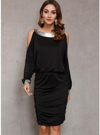 Sequins/Solid Long Sleeves Sheath Knee Length Casual Dresses