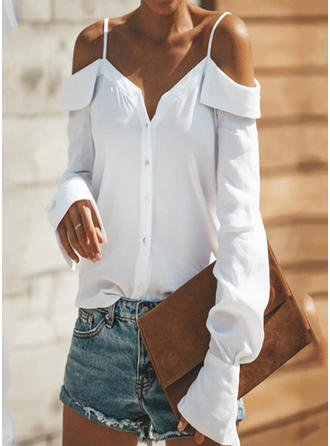 Polyester Spaghetti Strap Plain Long Sleeves Casual Blouses