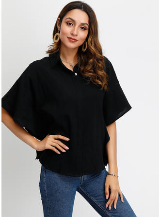 Solid Lapel Batwing Sleeve 1/2 Sleeves Button Up Casual Elegant Shirt Blouses