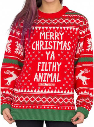 Women's Polyester Print Reindeer Letter Ugly Christmas Sweater