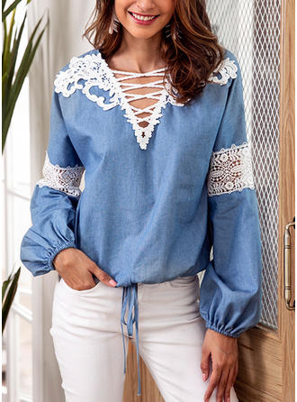 Polyester V Neck Lace Lantern Sleeve Casual Blouses
