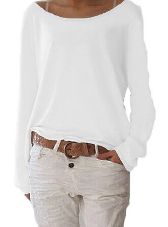 Solid Boat Neck Long Sleeves Casual Knit T-shirts