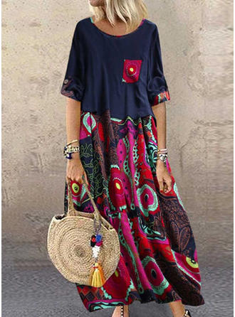 Print/Floral 1/2 Sleeves Shift Maxi Casual Dresses