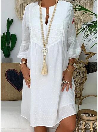 Solid Long Sleeves Shift Knee Length Casual/Elegant Dresses