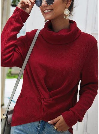 Solid Ribbed Cowl Neck Sweaters