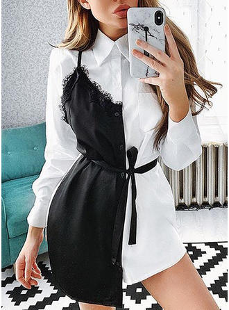 Lace/Color Block Long Sleeves Shift Above Knee Casual Dresses
