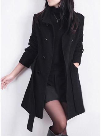 Blends Long Sleeves Plain Slim Fit Coats