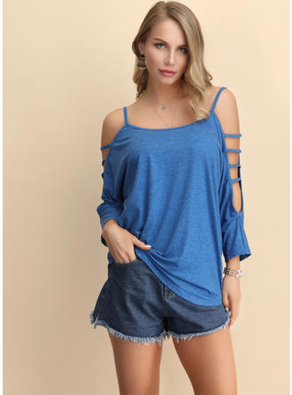 Solid Spaghetti Strap 3/4 Sleeves Casual Sexy Knit Blouses