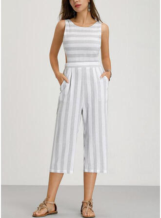Striped Sleeveless Sexy/Casual Midi Dresses