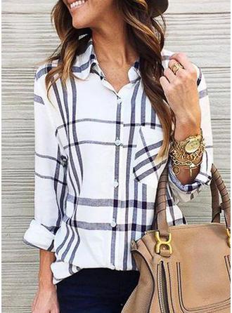 Mieszanki bawełniane Lapel Prążek Długie rękawy Koszula Bluzki