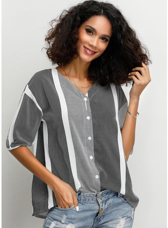 Color Block Striped V neck 1/2 Sleeves Button Up Casual Blouses