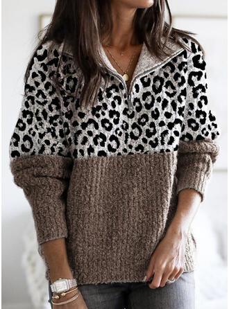 Bloco de Cor Leopardo Gola De Dobra Casual Suéteres