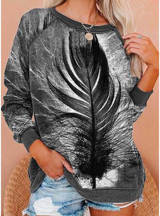 Impresión Cuello Redondo Manga Larga Sudadera