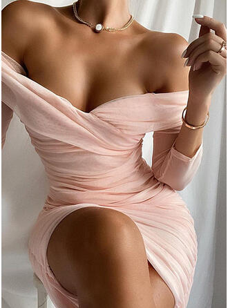 Solid Long Sleeves Bodycon Above Knee Sexy/Elegant Dresses