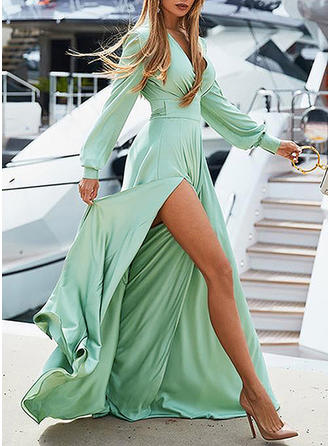 Solid Long Sleeves A-line Maxi Casual/Vacation Dresses