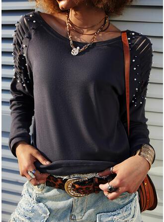 Jednobarevný Ozdobený Korálky Kulatý Výstřih Dlouhé rukávy Neformální Bluze