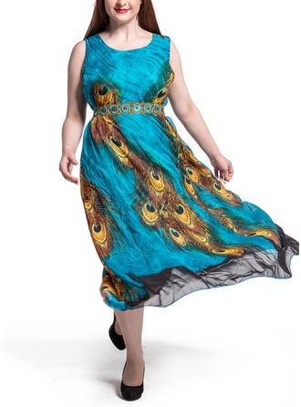Print Bohemian Round Neck Maxi A-line Dress