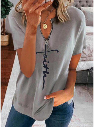 Print Figure V-Neck Short Sleeves Casual Blouses