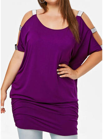 Solid Short Sleeves Shift Above Knee Casual/Plus Size Dresses