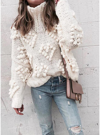 Solid Heart Turtleneck Casual Sweaters