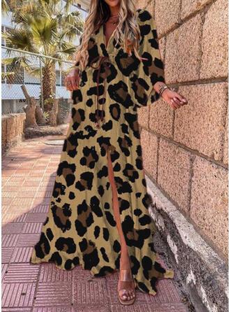 leopardo Maniche lunghe Abiti dritti Casuale Maxi Abiti