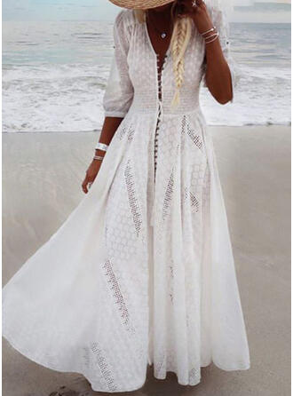 Lace/Print 1/2 Sleeves A-line Casual/Vacation Maxi Dresses