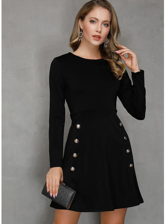 Solid Long Sleeves A-line Above Knee Vintage/Little Black/Casual Dresses