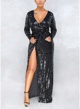Sequins Solid V-neck Maxi A-line Dress