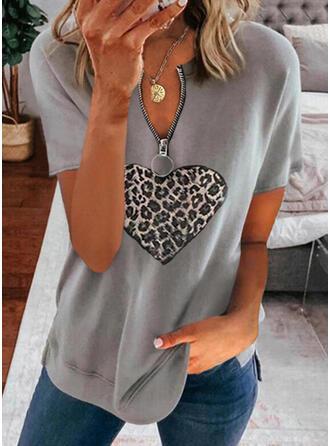 Leopard Heart V-Neck Short Sleeves Casual Blouses
