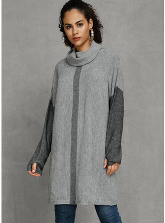 Polyester Col Roulé Couleurs Opposées Robe Pull