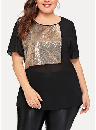 Patchwork Sequins Round Neck Short Sleeves Casual Plus Size T-shirts