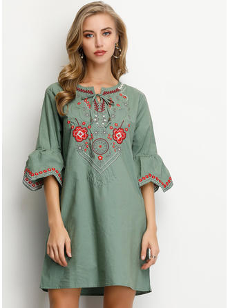 Embroidery/Floral 1/2 Sleeves Shift Above Knee Casual Dresses